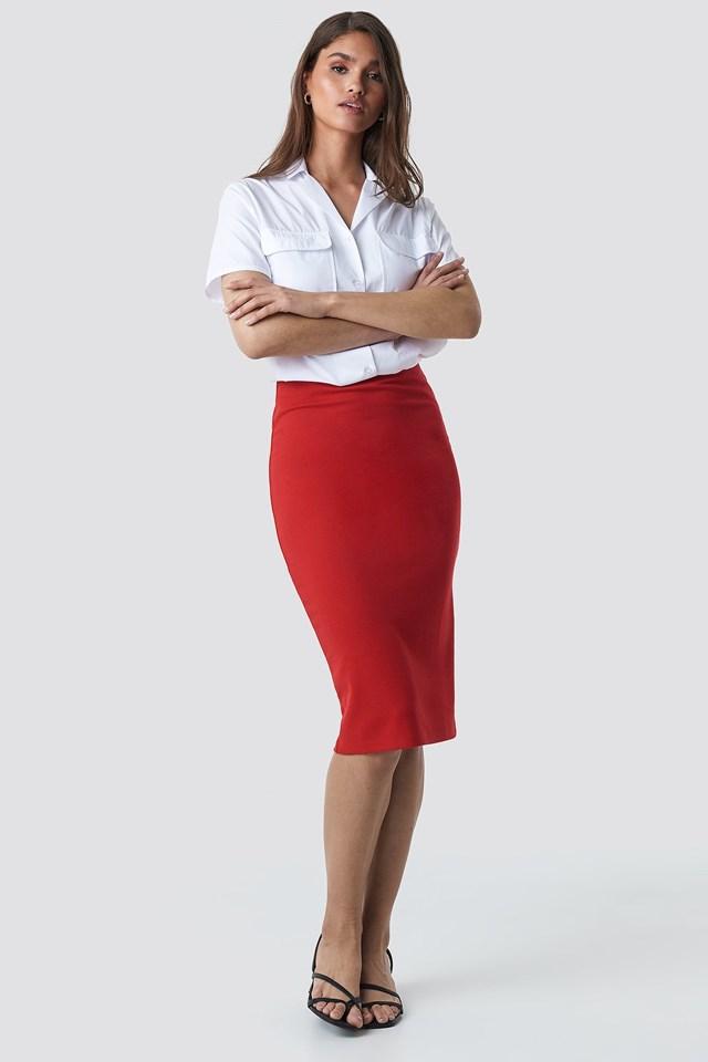 Zip Detail Bodycon Midi Skirt Outfit.