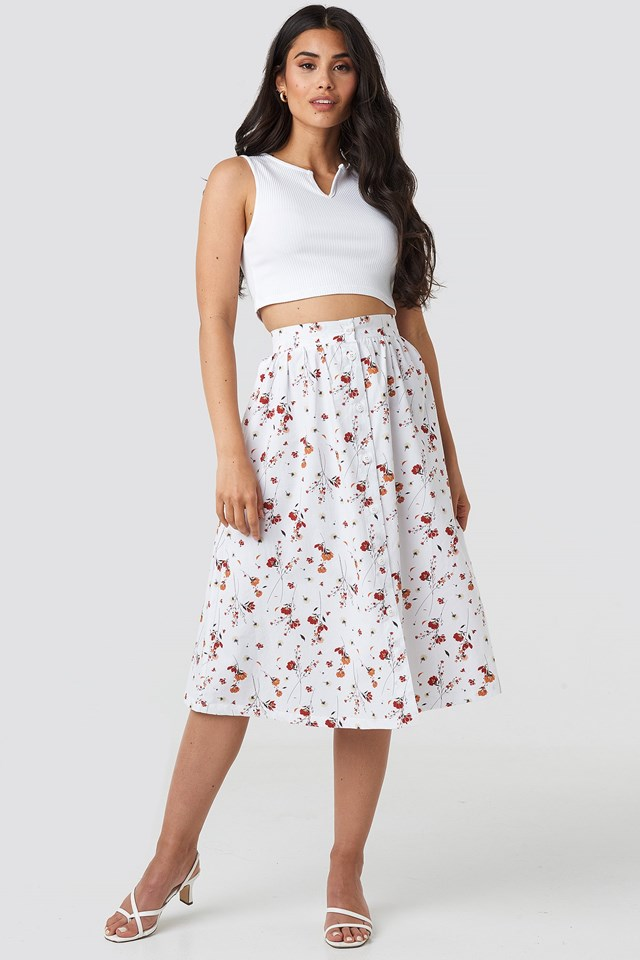 Button Up Midi Skirt Outfit.