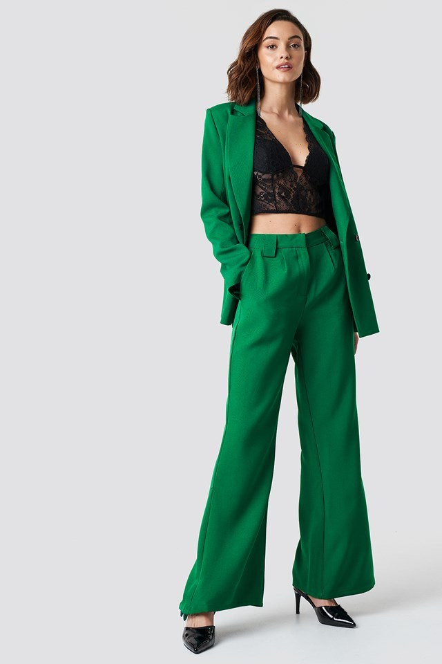 High Waisted Flared Suit Pants and Blazer