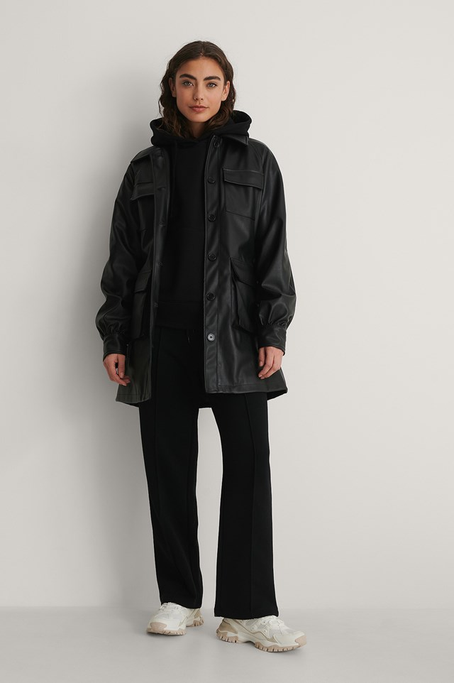 Chest Pocket PU Belted Jacket Outfit.