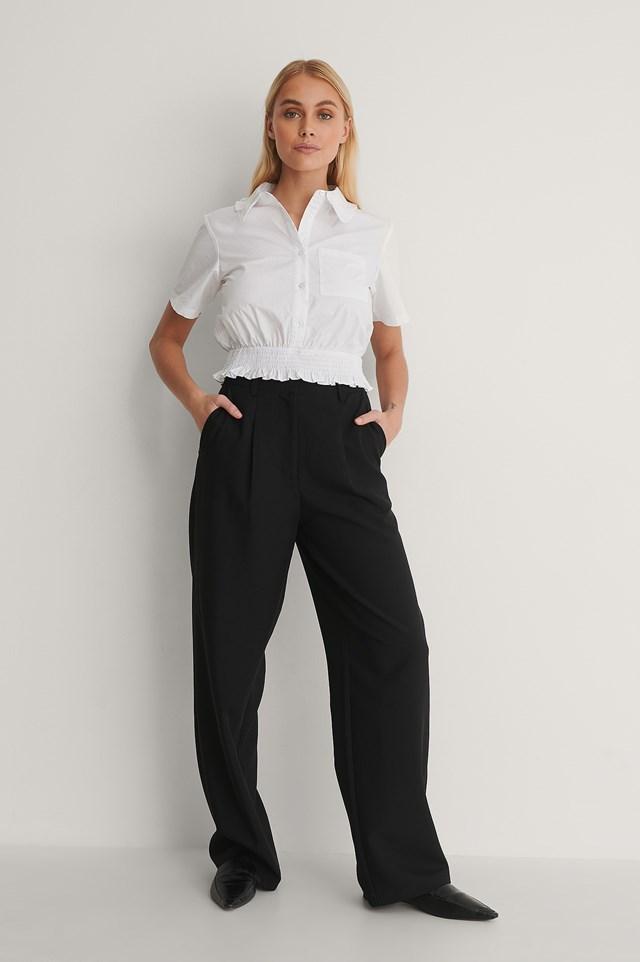 Short-Sleeve Frill Shirt Outfit.