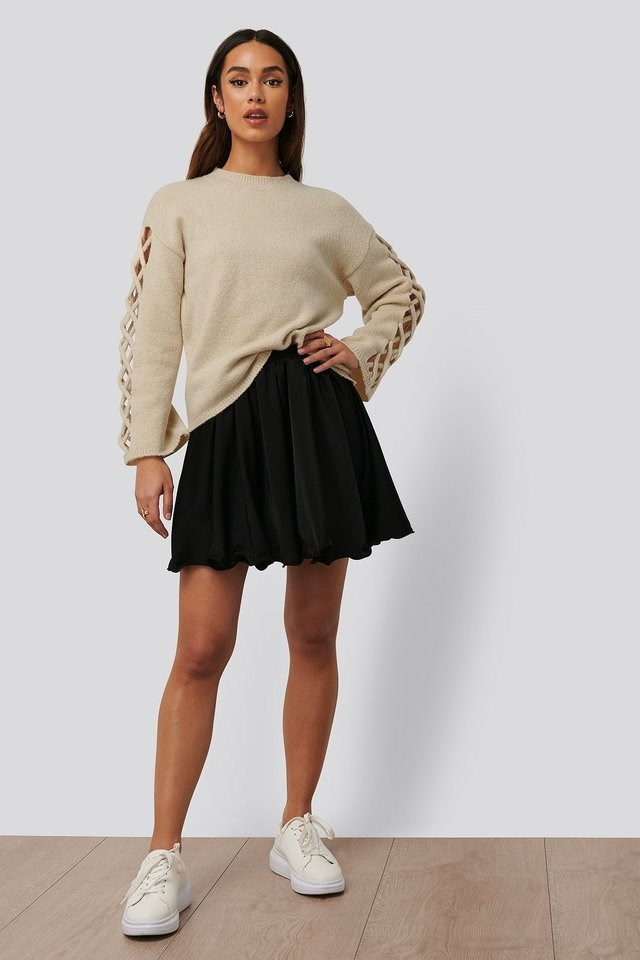 Sleeve Detail Roundneck Knit Outfit.