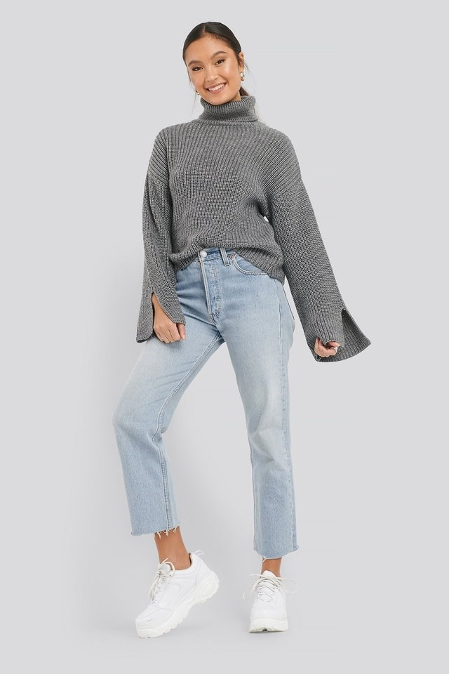 Sleeve Slit Knitted Sweater Outfit.