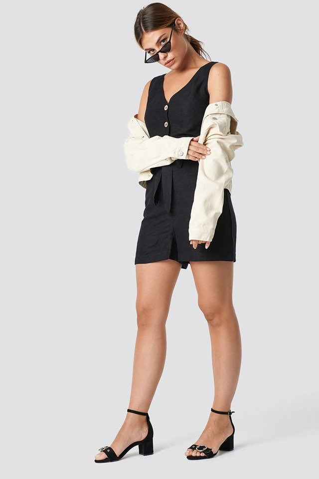 Fresh Playsuit with Beige Denim Jacket