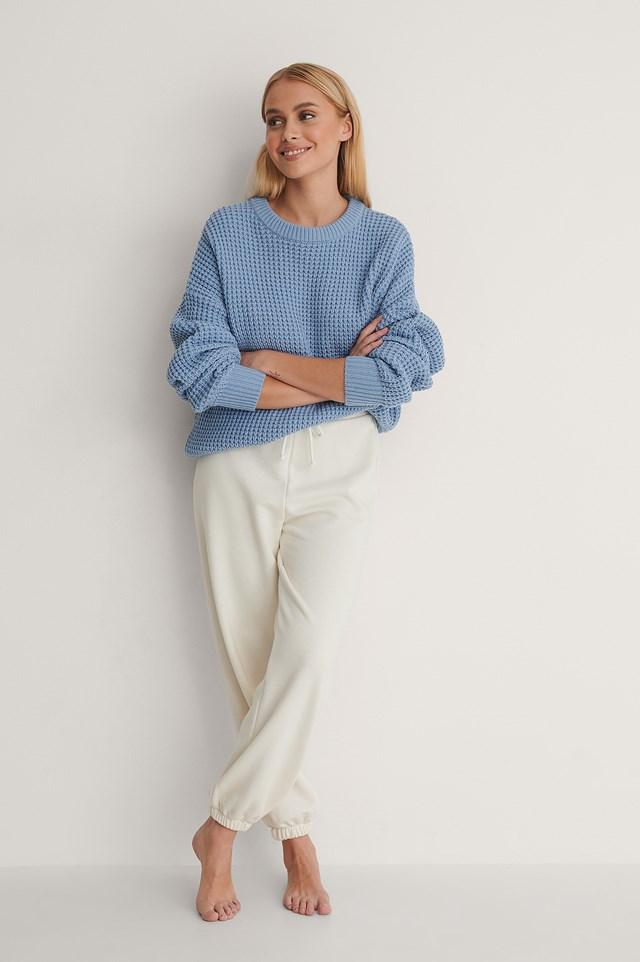 Waffle Knit Round Neck Sweater Outfit!