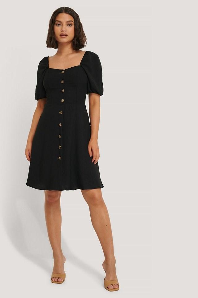 Carmen Puff Sleeve Mini Dress Outfit.
