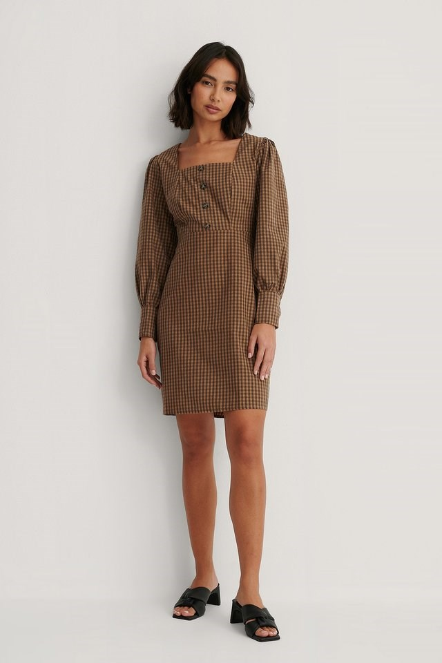 Checked Square Neck Mini Dress Outfit.