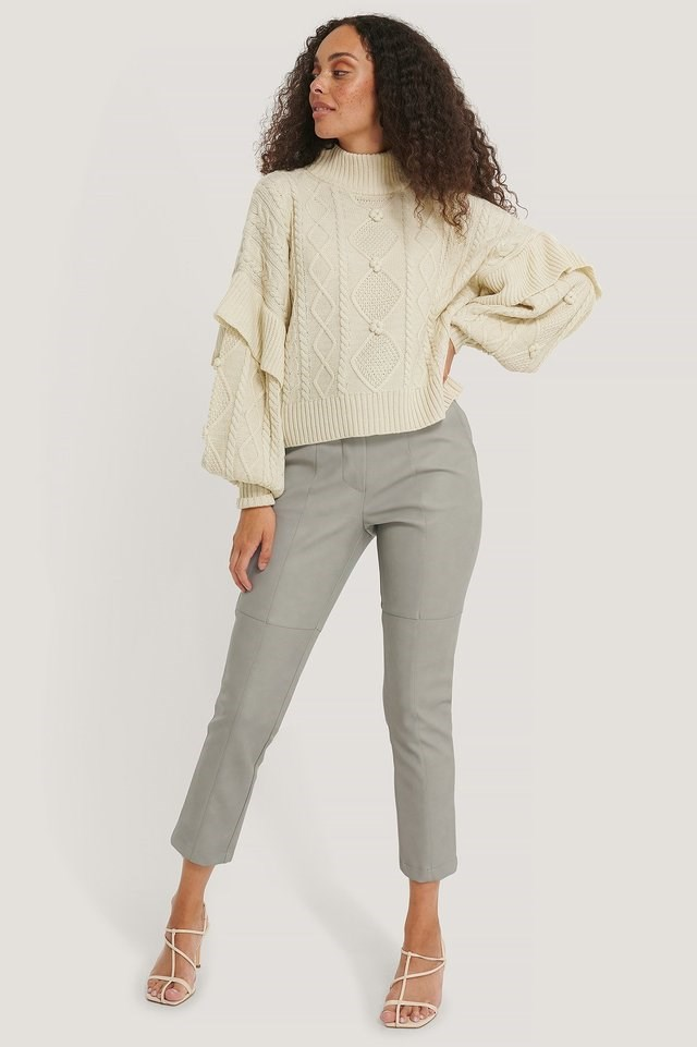 Turtleneck Flounce Knitted Sweater Outfit.
