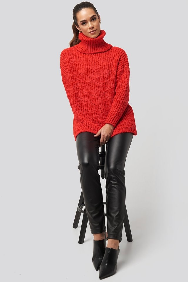 Turtleneck Knitted Sweater Outfit.