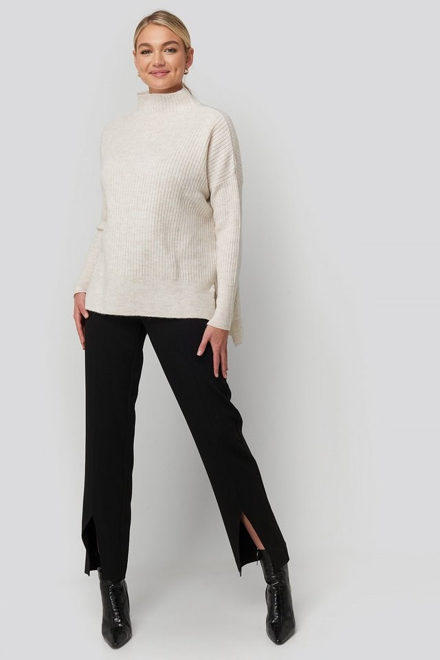 Vertical Neck Side Slit Knitted Sweater Outfit.