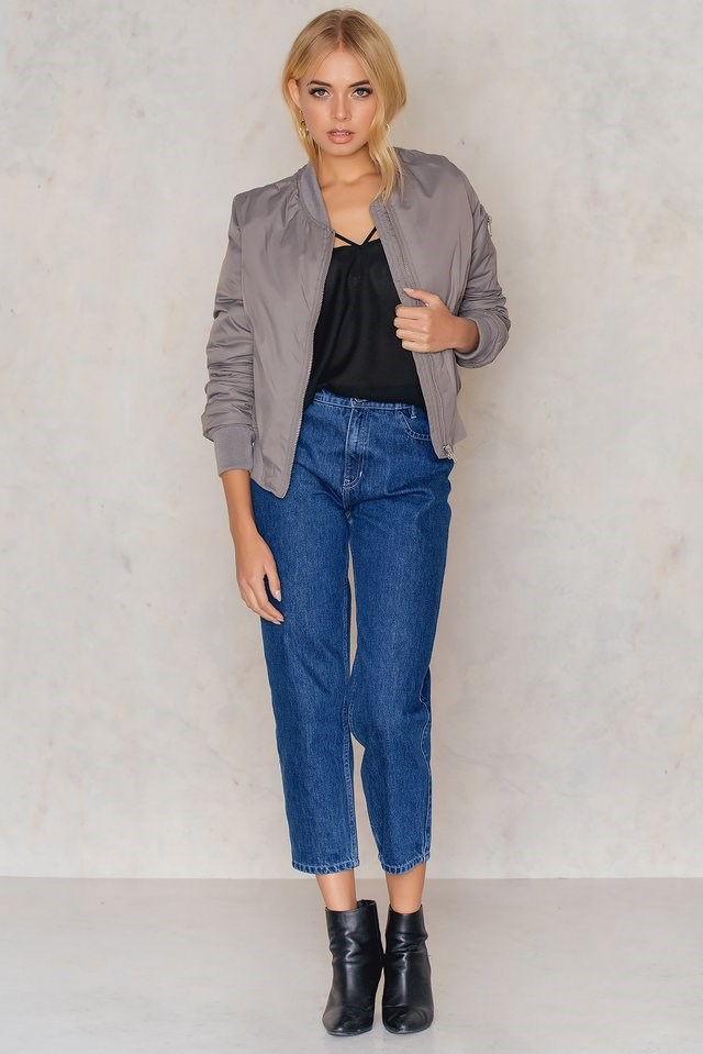 Kate Bomber jkt Grey Outfit.
