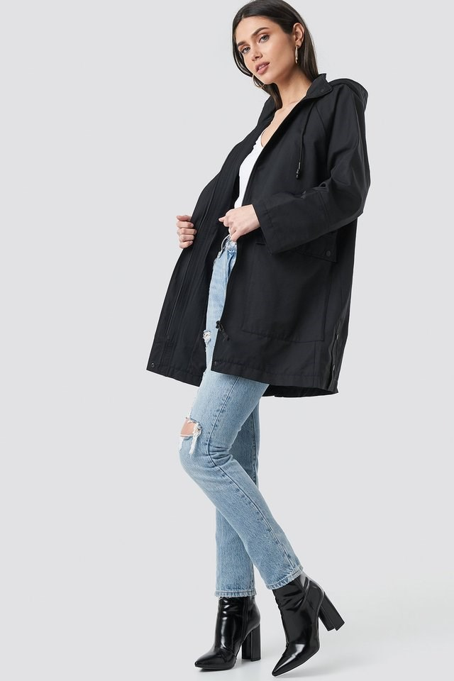 Lightweight Hooded Parka Black Outfit.