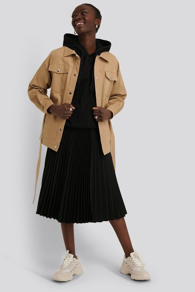 Cotton Belted Jacket Beige Outfit.