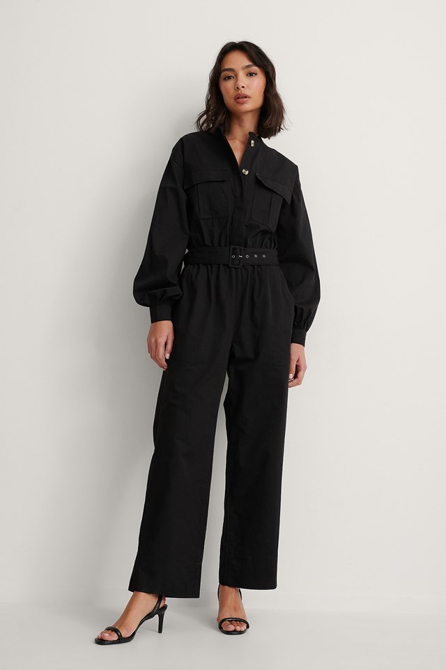 Black Organic Relaxed Belted Jumpsuit