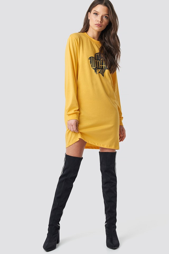 Oversized LS T-Shirt Dress Outfit.