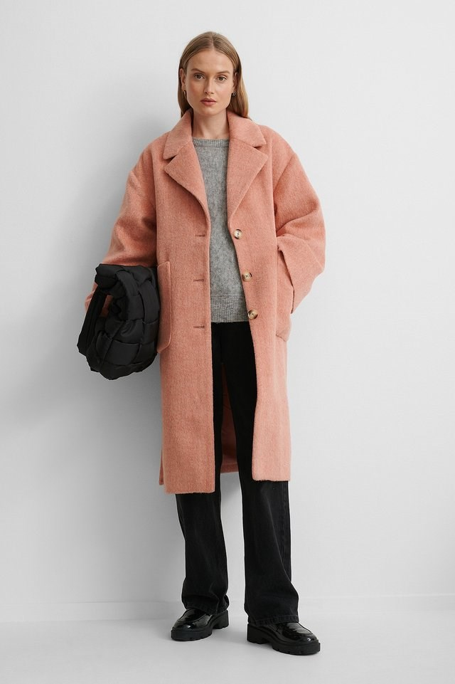 Wide Sleeve Coat Pink Outfit.