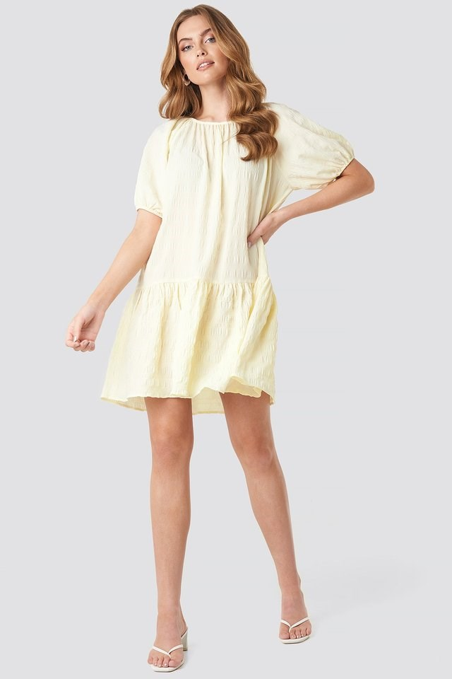 Structured Tiered Mini Dress Yellow.
