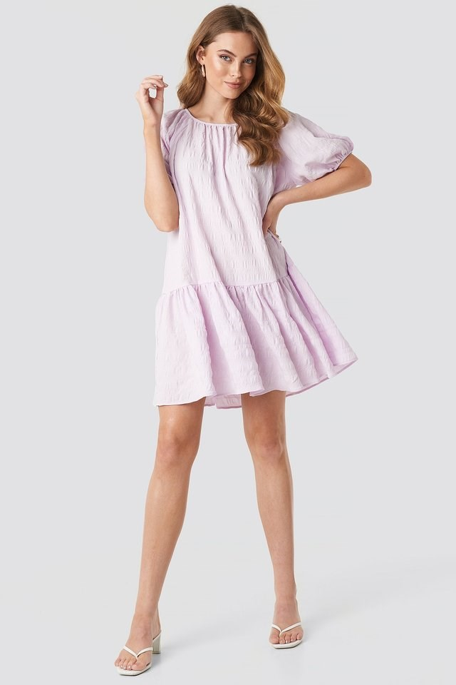 Structured Tied Mini Dress Purple Outfit.