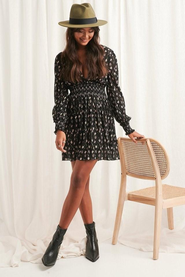 Structured Smock Waist Dress Black.