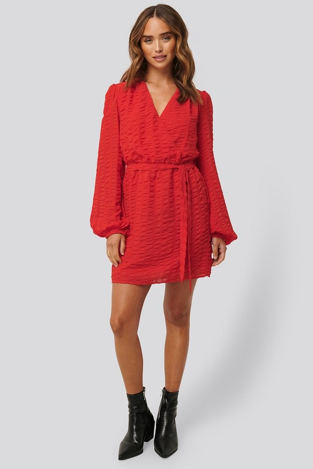 Structured Overlap Mini Dress Red.