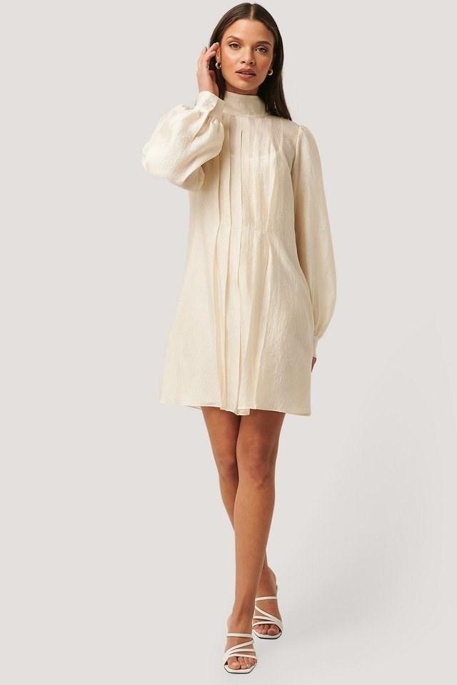 Structured Organza Gathered Mini Dress Beige.