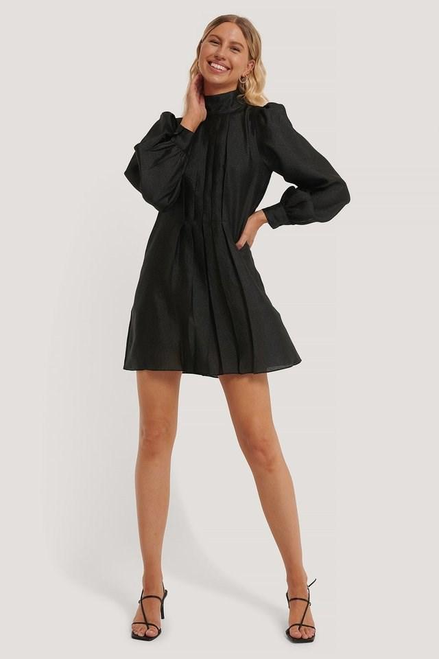 Structured Organza Gathered Mini Dress Black.