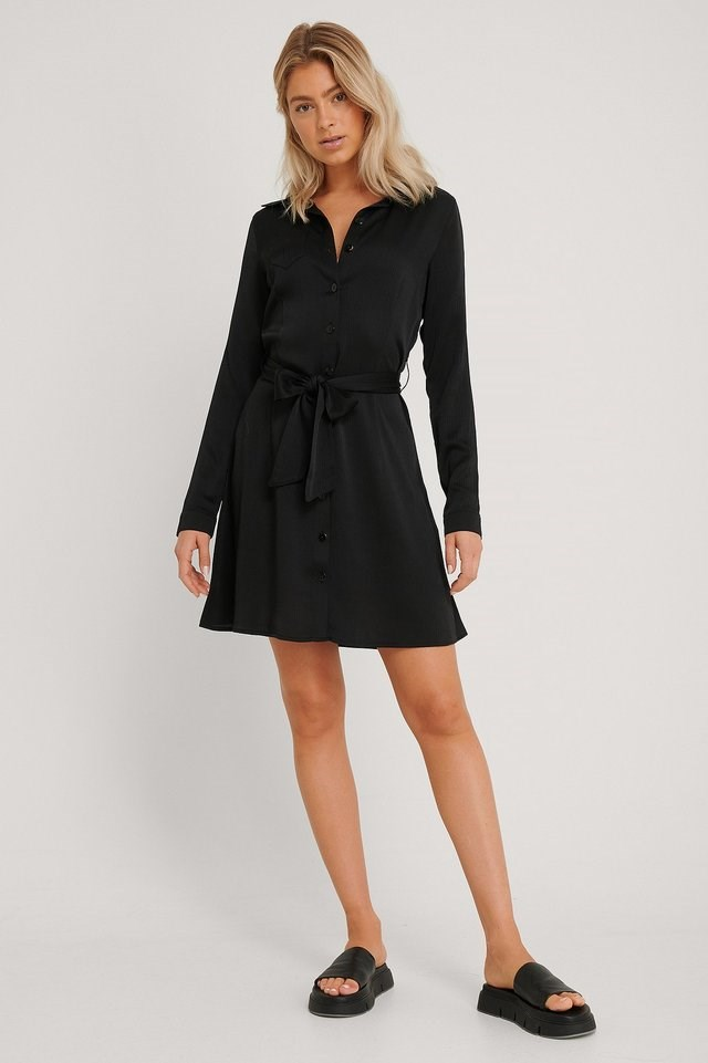 Structured Long Sleeve Shirt Dress Black Outfit.