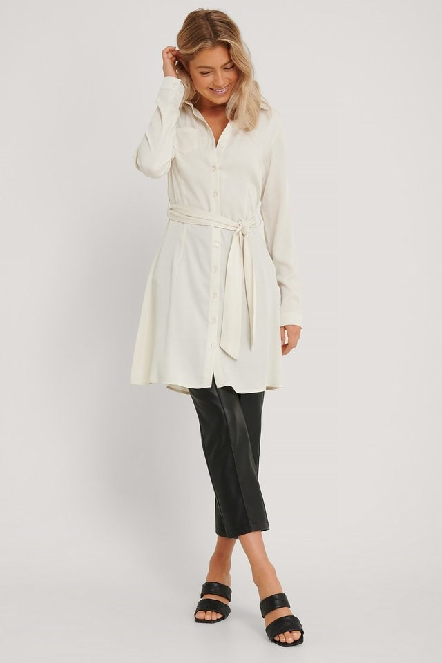 Structured Long Sleeve Shirt Dress Offwhite.