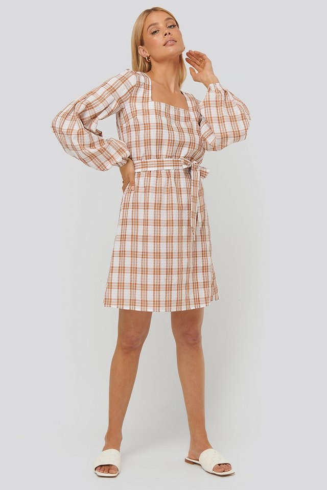 Structured Check Dress Brown.