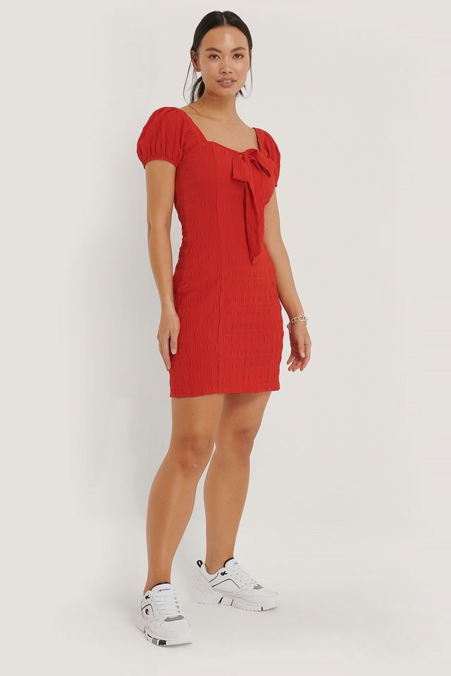 Structured Bow Dress Red.