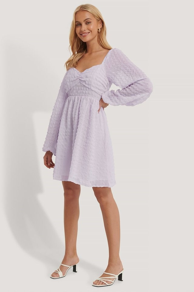 Structured Balloon Sleeve Mini Dress Purple.