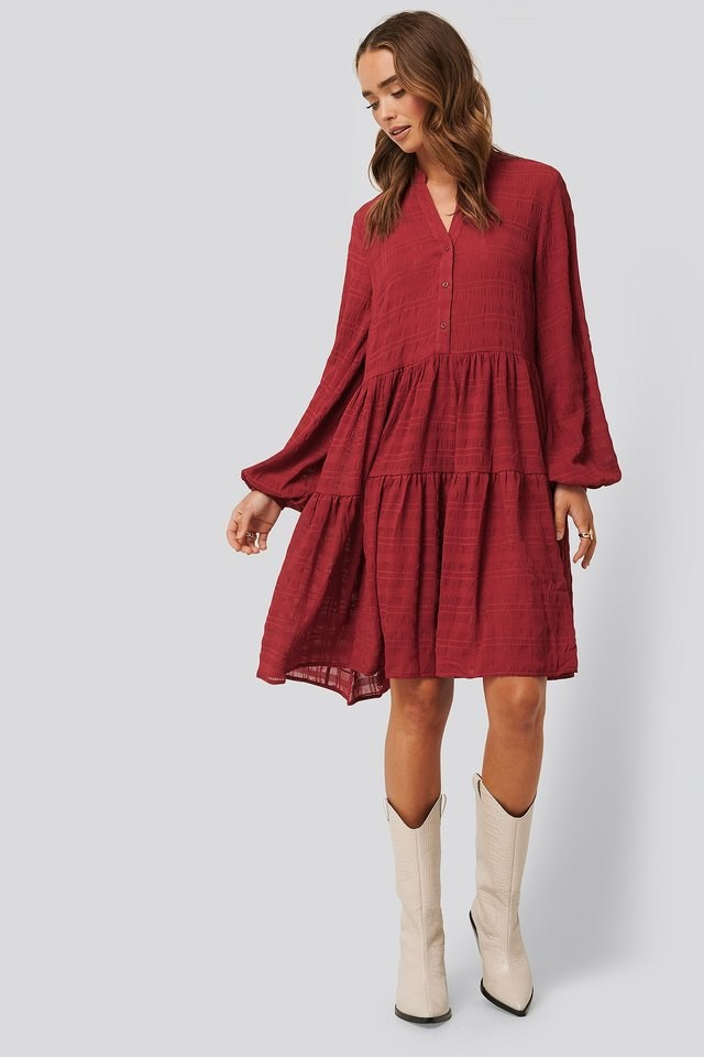 Structured A-Line Dress Red.