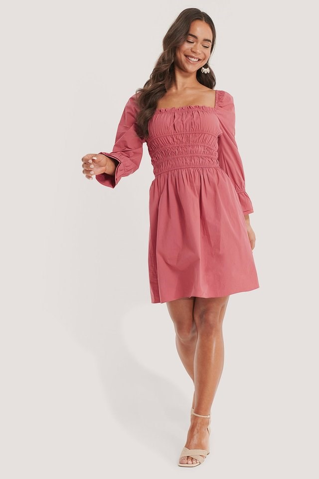 Square Frill Neck Dress Pink.