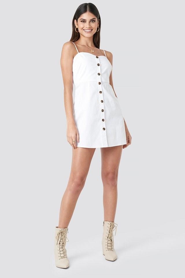 Strap Mini Cotton Dress White.