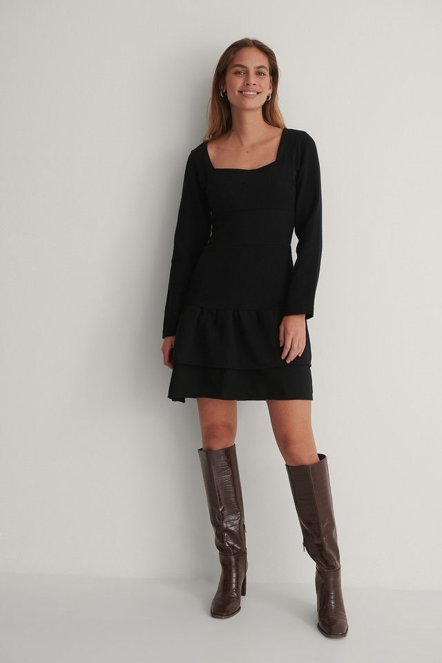 Square Neck Mini Dress Black.