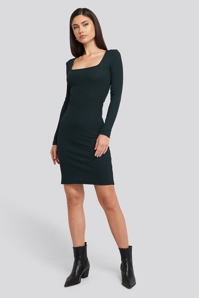 Square Neck Jersey Dress Green.
