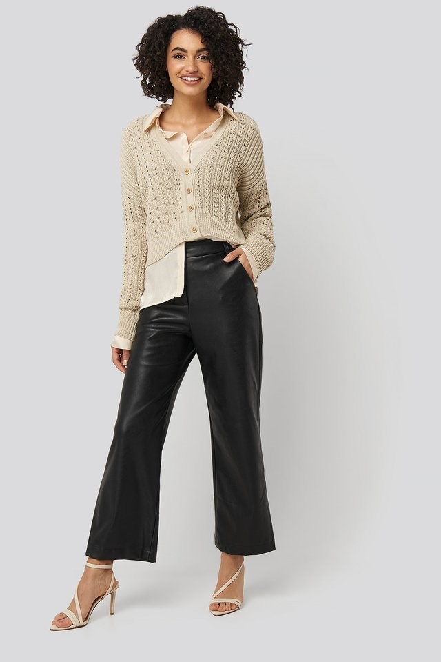 Waffle Knit Cropped Cardigan Outfit.