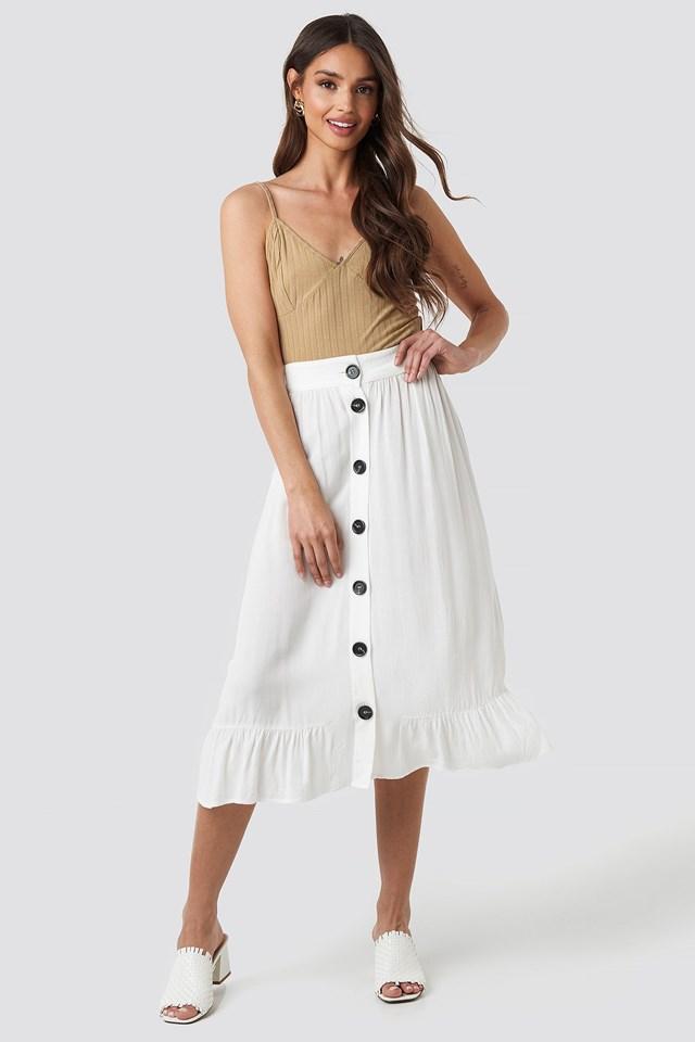 Frill Hem Front Button Skirt Outfit.