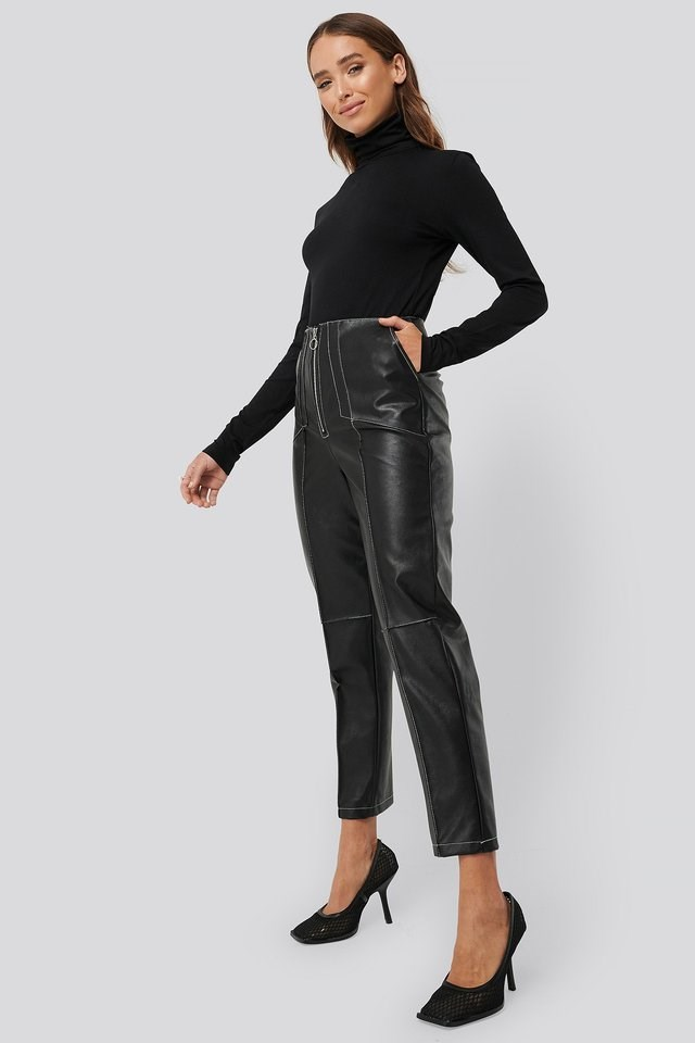 Faux Leather Front Seam Pants Outfit.