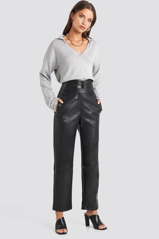 Waistband PU Pants Outfit.