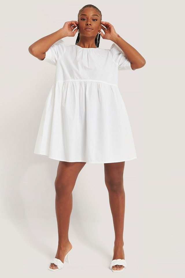 Cotton Short Sleeve Mini Dress Outfit.