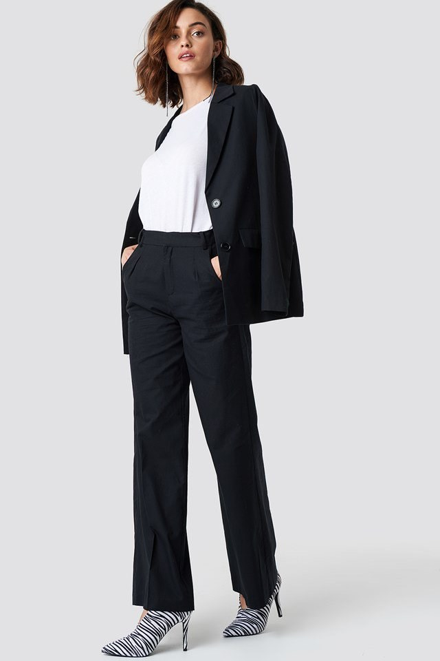 Flared Leg Creased Suit Pants with Blazer