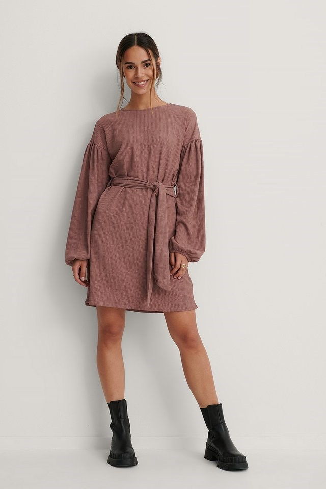 Crepe Belted Dress Outfit.