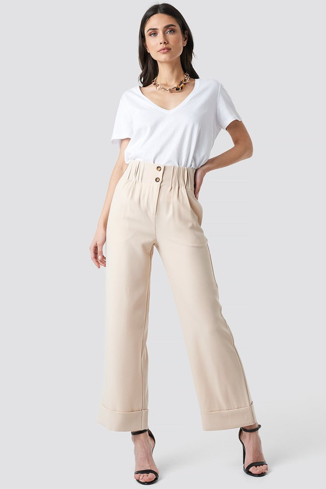 Fold Up Shirred Detail Pants Outfit.
