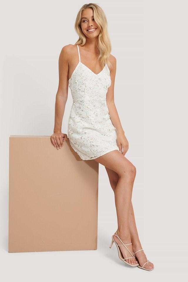 Crochet Strap Mini Dress Outfit.
