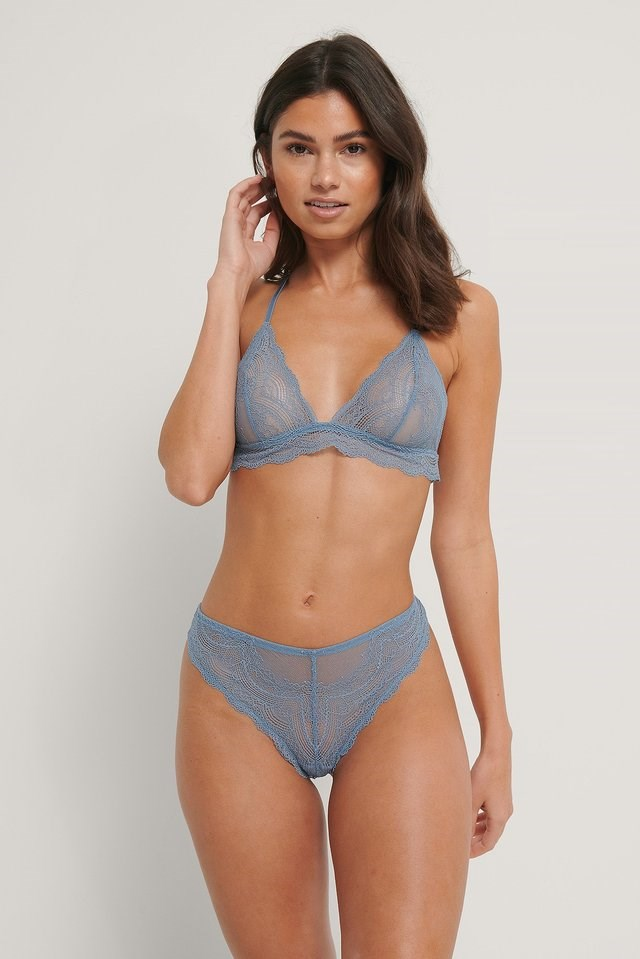 Chantilly Lace Triangle Bra Outfit.