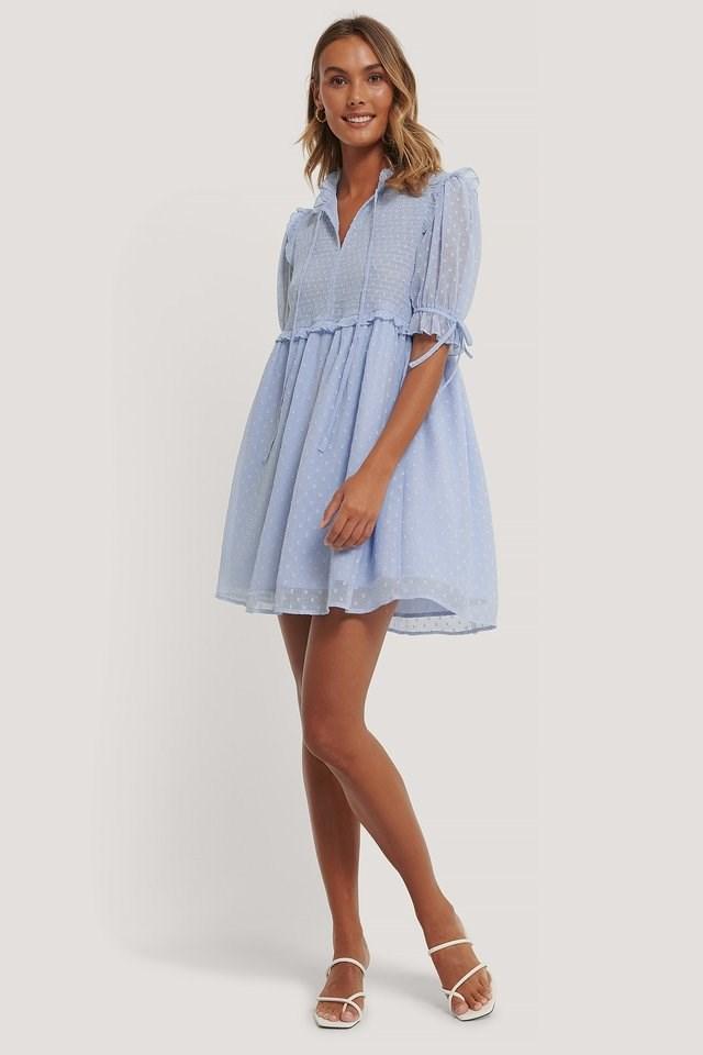 Dobby Smocked Mini Dress Outfit.