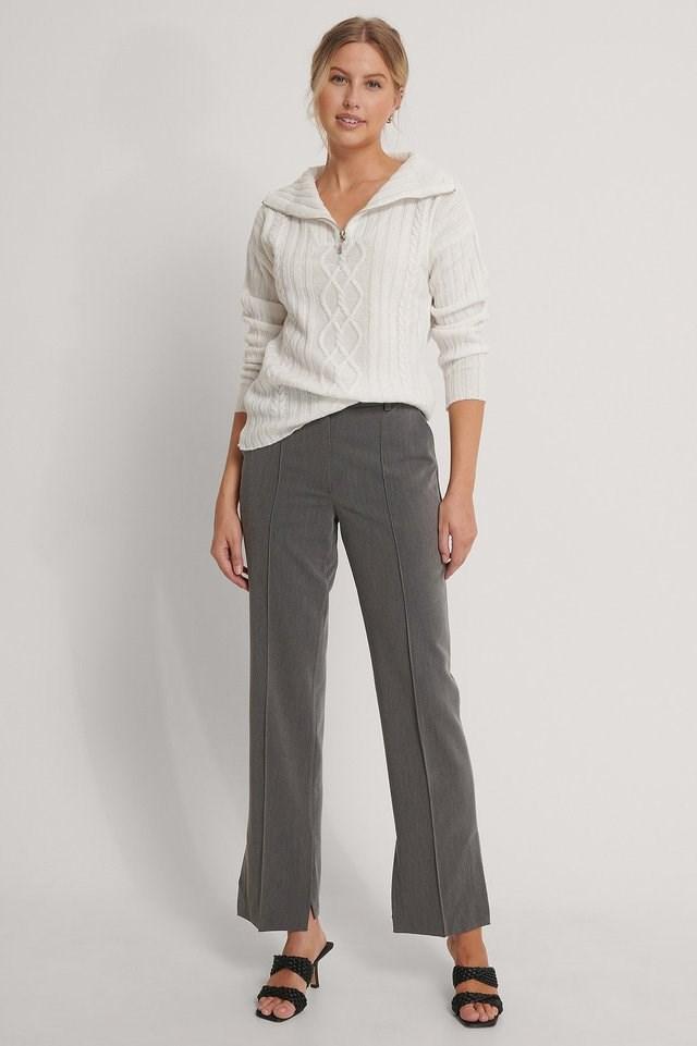 Grey Side Slit Tailored Pants
