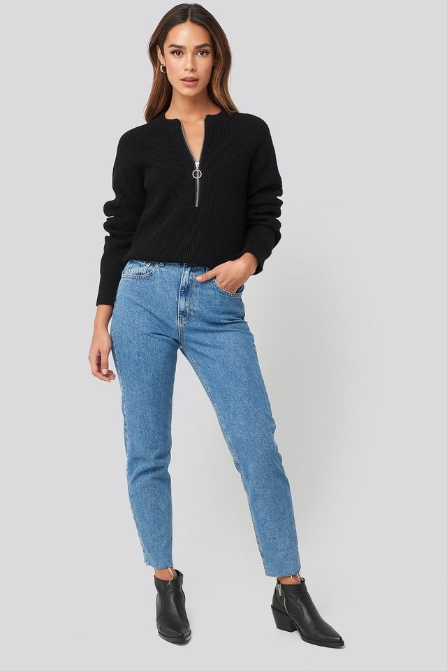Zipper Front Knitted Sweater Outfit.
