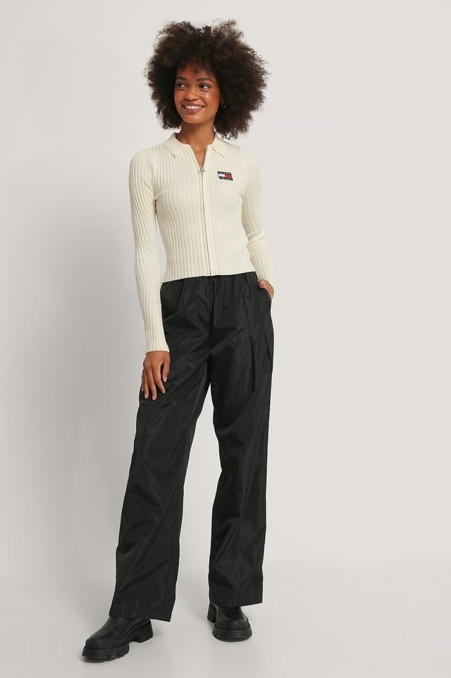 Zip Thru Sweater Outfit.